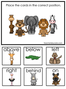 African Animals themed Positional Game.  Printable Preschool Curriculum Game