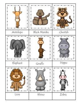 African Animals themed Three Part Matching preschool printable activity.