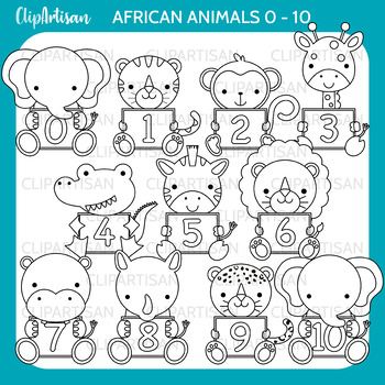 African Animals with Numbers Clip Art 0-10