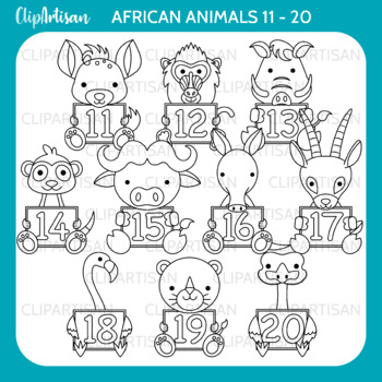 African Animals with Numbers Clip Art 11-20