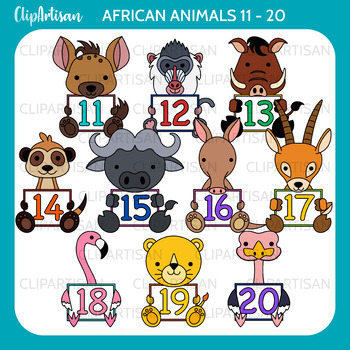 African Animals with Numbers Clip Art Bundle 0-20