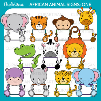 African Animals with Signs Clip Art