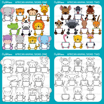 African Animals with Signs Clip Art Bundle