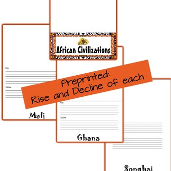 African Civilizations Foldable Pre-printed (Ghana, Mali, Songhai)