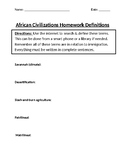 African Civilizations Homework Definitions