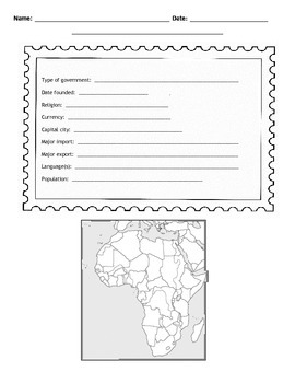 African Countries Postcard Template
