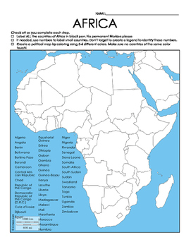 African Countries Study Map