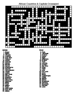 African Countries and Capitals  Crossword & Word Search with Keys