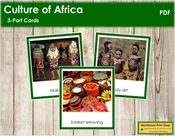 African Culture: 3-Part Cards (color borders)