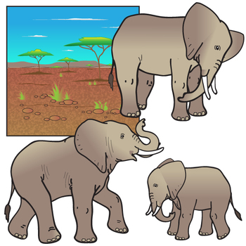 African Elephants Clip Art Set by The Painted Crow | TpT