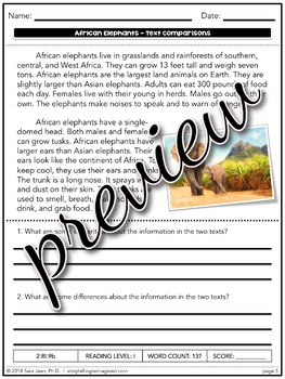 African Elephants Reading Comprehension Passages & Questions Nonfiction Texts