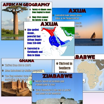 African Empires (Axum, Ghana, Mali, Songhai, & Zimbabwe) Lesson