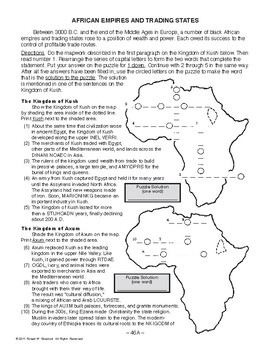 African Empires and Trading States, WORLD HISTORY LESSON 46 of 150 Activity+Quiz