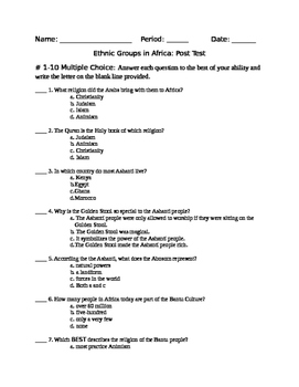 African Ethnic Groups Post Test
