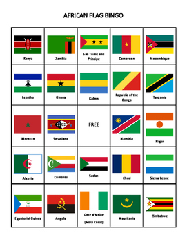 African Flag Bingo--12 cards