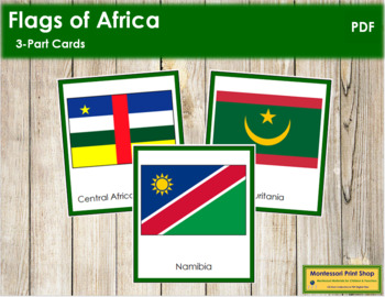 African Flags: 3-Part Cards (color borders) - Montessori