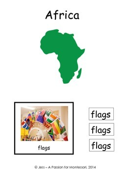 African Flags, 54 Three Part cards, Montessori Africa Continent Box