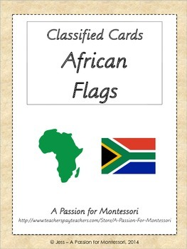 African Flags, 54 Three Part cards, Montessori Africa Cont