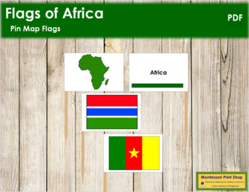 African Flags - Pin Map Flags (color-coded)