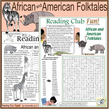 Bundle: African Folktales and Animals Two-Page Activity Set and Word Search