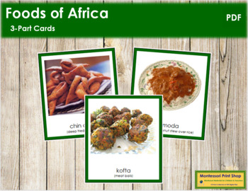 African Food: 3-Part Cards (color borders) - Montessori