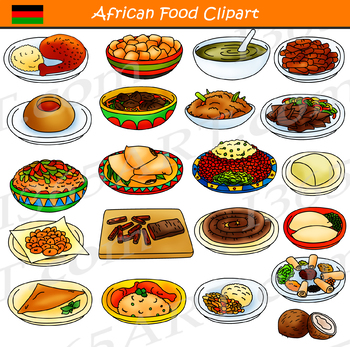 Food dinner. African and dishes clipart