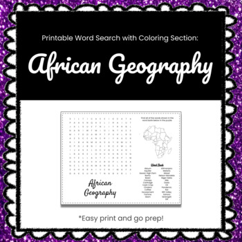 African Geography Printable Word Search Puzzle