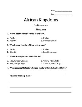 African Geography and Kingdoms Test