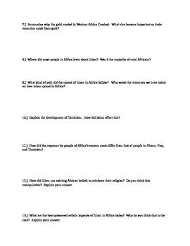 African History 800-1500 Ghana, Mali, Songhai Gold, Salt Islam Quiz.  History101
