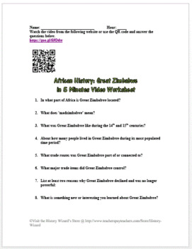 African History: Great Zimbabwe in 5 Minutes Video Worksheet