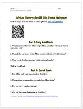 African History: Swahili City States Webquest