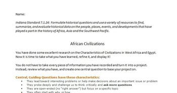 African History Unit - Outline Notes and Civilizations Project