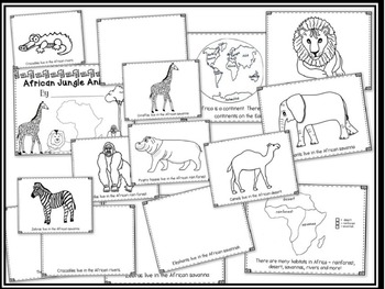 African Jungle Animals Directed Drawing - Let's Make a Book!