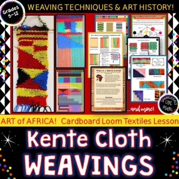 African Kente Cloth Inspired WEAVINGS on Cardboard Looms