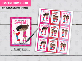 African Kids Valentine's Day Card DIY Printable, Boy and Girl Exchange Tag, Inst