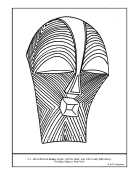 African Kifwebe Mask.  Coloring page and lesson plan ideas