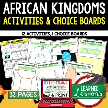 African Kingdoms Choice Board Activities (Paper and Google Drive Versions)
