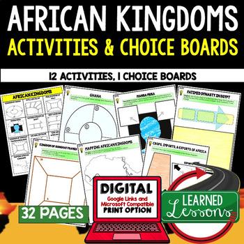 African Kingdoms Activities, Choice Board, Print & Digital, Google