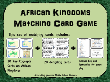 African Kingdoms Matching/Memeory  Game