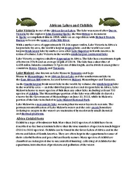 African Lakes and Cichlids Reading Comprehension