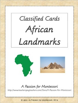 African Landmarks, Montessori flash cards, Africa continent box