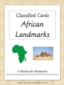 African Landmarks, Montessori flash cards, Africa continent box