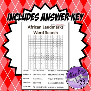 African Landmarks Word Search