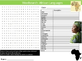 African Languages Wordsearch Puzzle Sheet Keywords Africa Geography