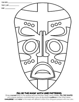 ART 101: Elementary Line, Pattern and Value Lesson- Curved Lines on a Mask