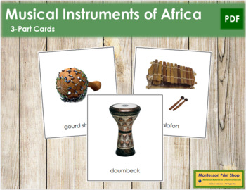 African Musical Instruments: 3-Part Cards