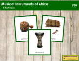 African Musical Instruments: 3-Part Cards (color borders) - Montessori