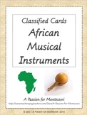African Musical Instruments, Montessori Three part cards, Africa continent box