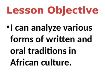 African Oral Tradition Lesson