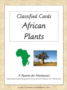 African Plants, Montessori three part cards, Africa continent box